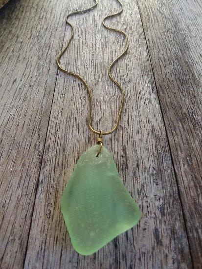 long seafoam green coke bottle sea glass necklace