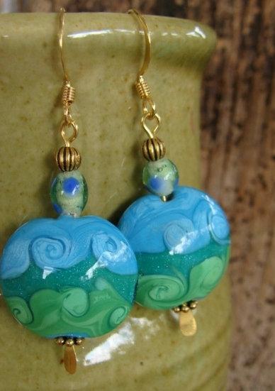 Big Drop Green & Aqua Artisan Glass Bead Earrings