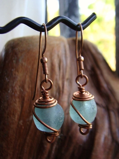 Sexy Copper Chic Seafoam Recycled Glass Bead Earrings