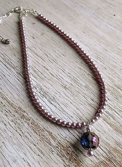 purple glass star on beaded pink pearl choker necklace