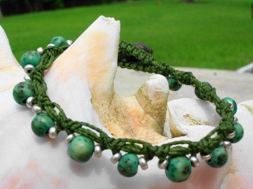 Nonmetal Macrame Aqua Seed Natural Bracelet