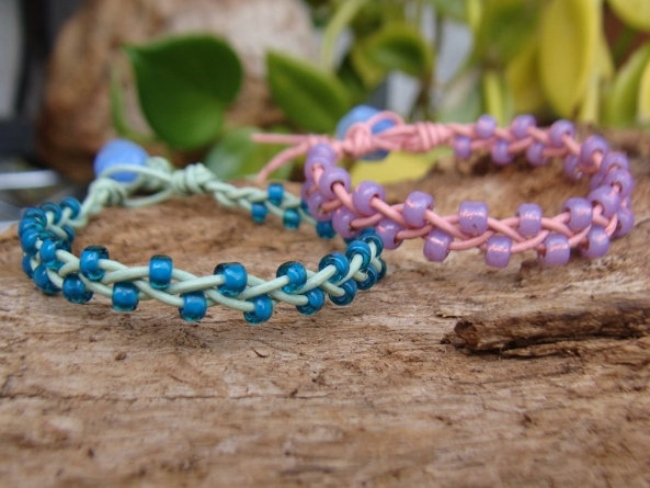 Nonmetal Glass & Leather Affordable Kid Bracelets