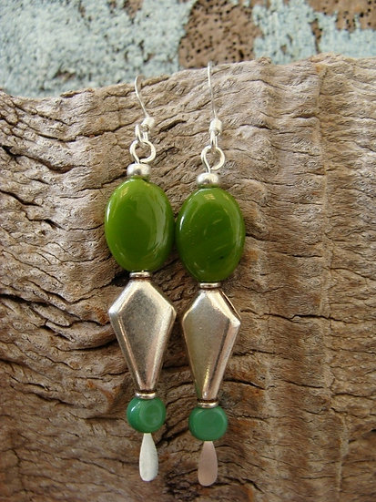 Long Drop Silver Metal & Green Glass Bead Earrings