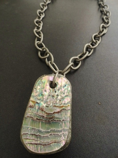 Chunky Gunmetal & Natural Abalone Shell Pendant Necklace