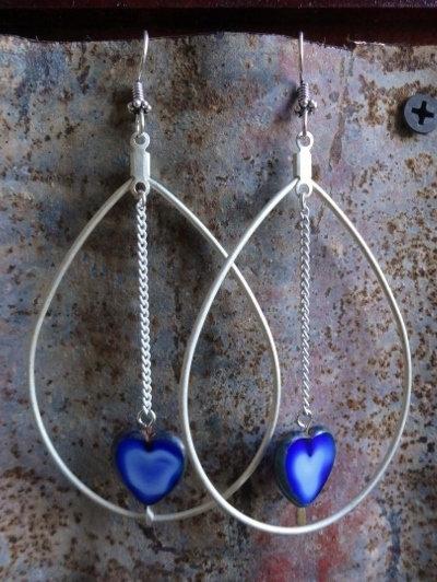 Big Silver Teardrop & Blue Heart Glass Bead Earrings