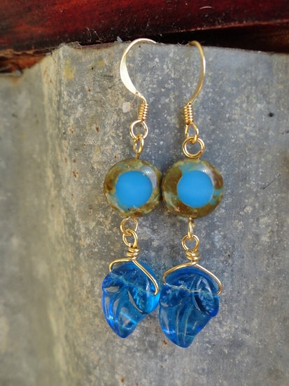 Medium Length Chic Aqua Glass Leaf Dangle Earrings