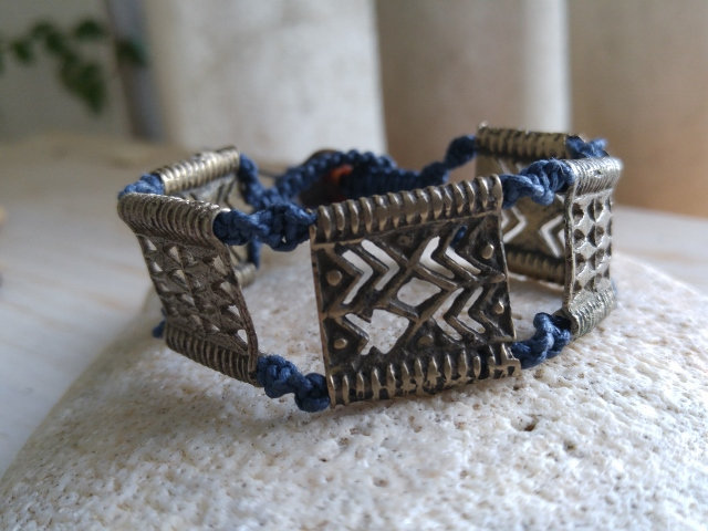 navy blue macrame and tribal brass metal bracelet