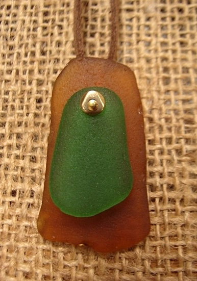 green and gold genuine sea glass necklace