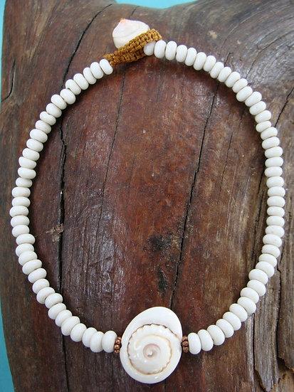 Surfer Glass Bead Nautilus Shell Ankle Bracelet