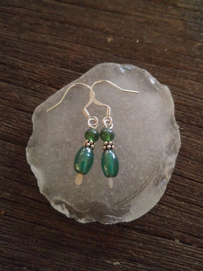 Chic Small Drop Teal Green Glass Bead Earrings