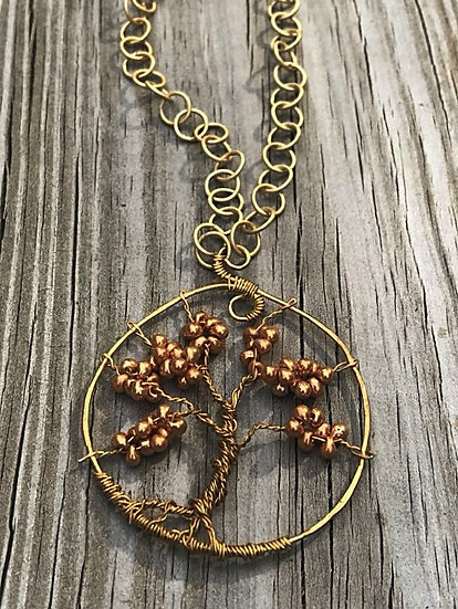 glass bead gold metal necklace