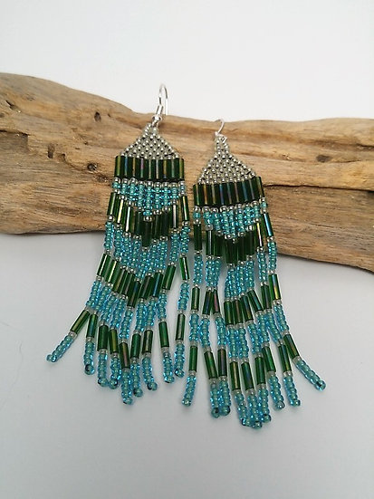 Sexy Long Dangle Green & Aqua Glass Bead Earrings