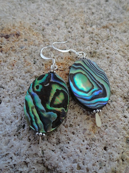 Chic Oval Abalone Shell Earrings