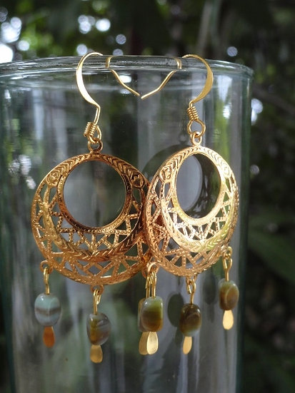 Glass & Fligree Gold Chandelier Hoop Earrings