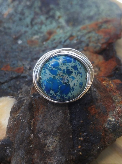 Silver Bird's Nest Blue Jasper Gemstone Ring