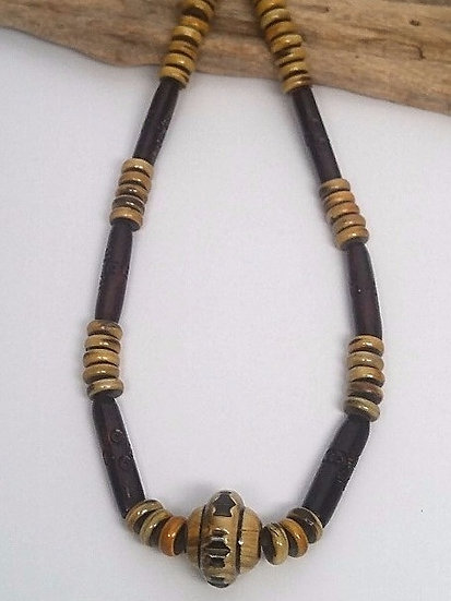chunky natural horn necklace for men & surfers