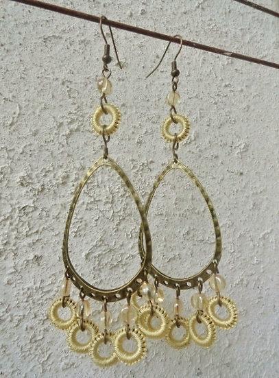 Sexy Long Creme Beaded Brass Chandelier Earrings