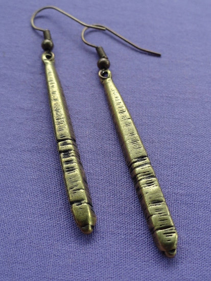 Antiqued Brass Metal Sexy Long Tribal Earrings
