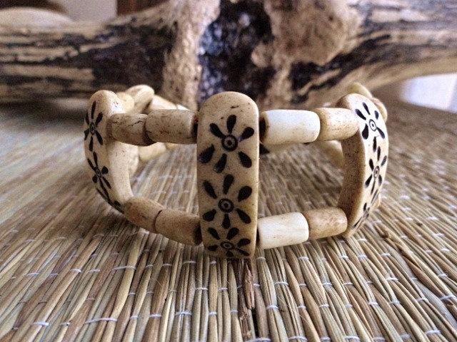 carved wide bone bracelet