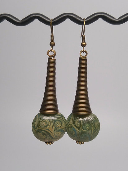 Tribal Sexy Long Brass Green Artisan Glass Earrings