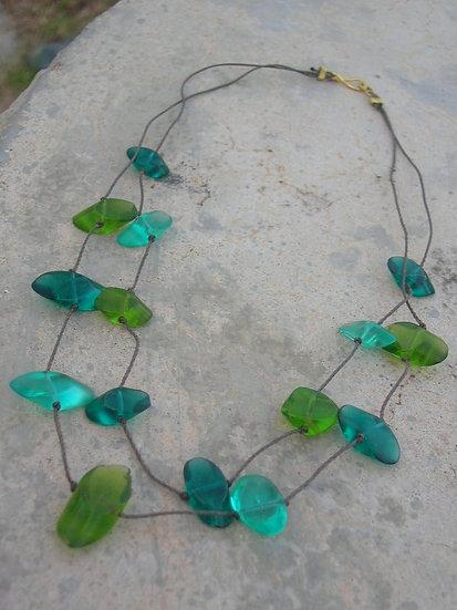 Tiered Green, Seafoam & Aqua Glass Bead Necklace