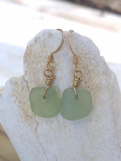 Chic Tiny Square Seafoam Sea Glass Earrings