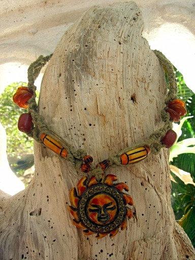 Hemp macrame orange sun choker necklace