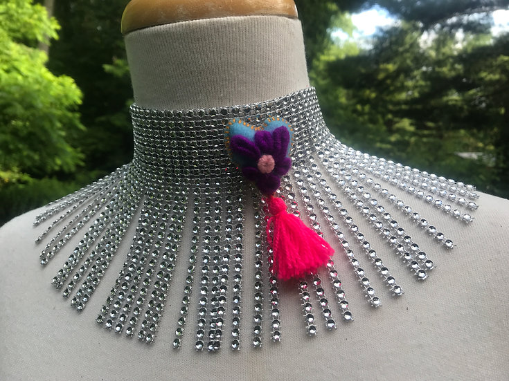 purple heart faux diamond choker necklace