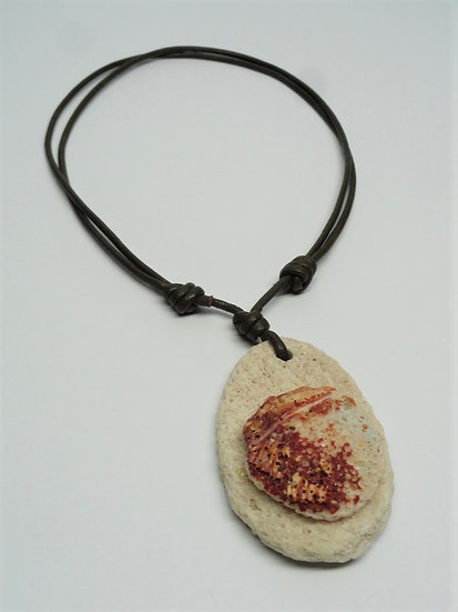 olive leather, coral & shell necklace