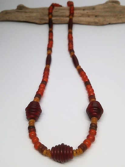 red & orange natural horn long necklace