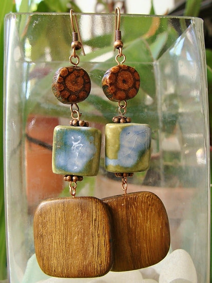 Natural Ayahuasca Wood & Ceramic Bead Earrings