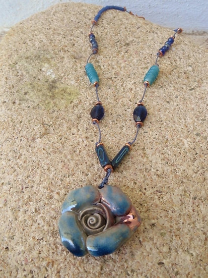 Chic Blue Artisan Ceramic Flower Pendant Necklace