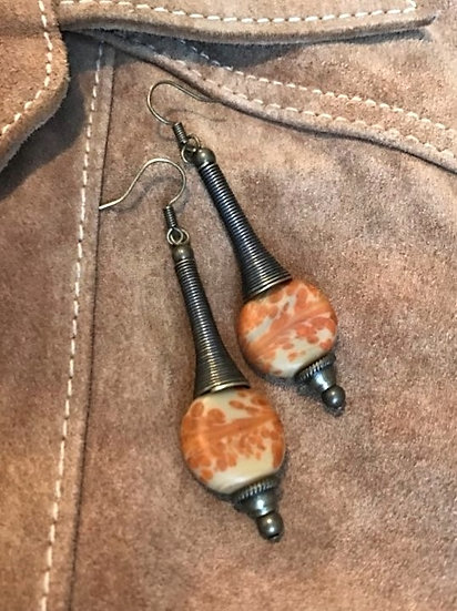 orange artisan glass bead & brass metal earrings