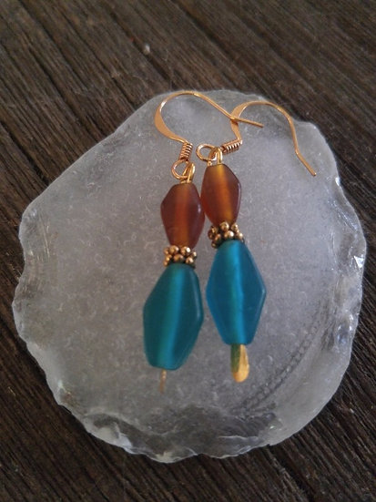 Chic Small Drop Brown & Teal Glass Bead Earrings