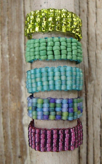 Nonmetal Colorful Beaded Glass Bead Rings