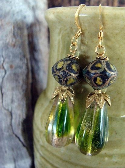 Unusual Paper & Green Teardrop Glass Bead Earrings