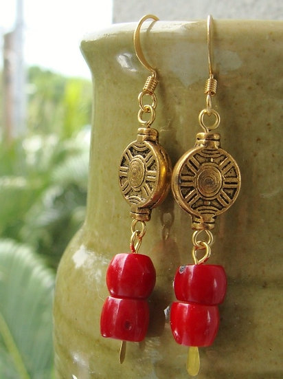 Chic Gold & Red Coral Dangle Earrings