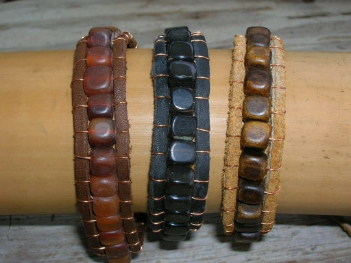 Men's Natural Horn Leather Cool Surfer Bracelets