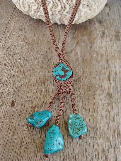 Nonmetal Natural Chunky Turquoise Stone Necklace