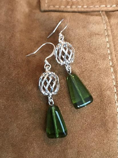 green glass & silver metal earrings