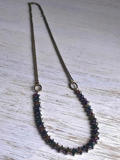 long purple hematite star gemstone necklace