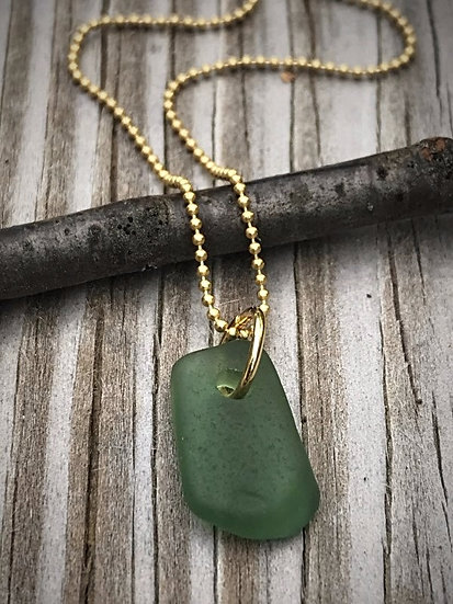 small aqua green sea glass necklace