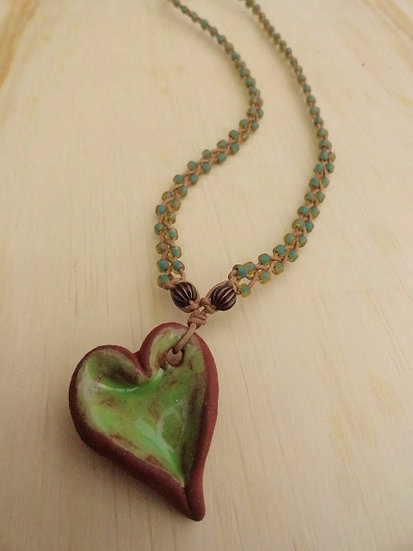 Green Ceramic Clay Heart Women's Surfer Necklace