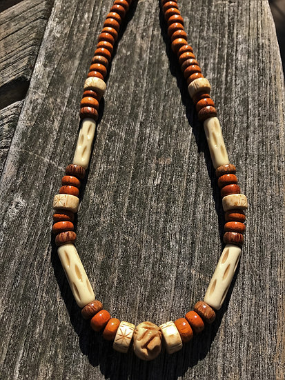bone & wood men's surf necklace