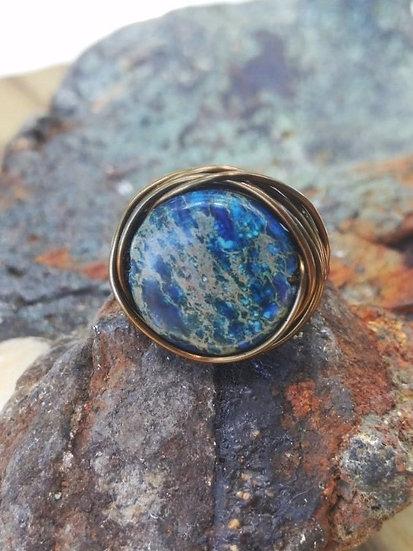 Bronze Bird's Nest Blue Jasper Natural Gemstone Ring