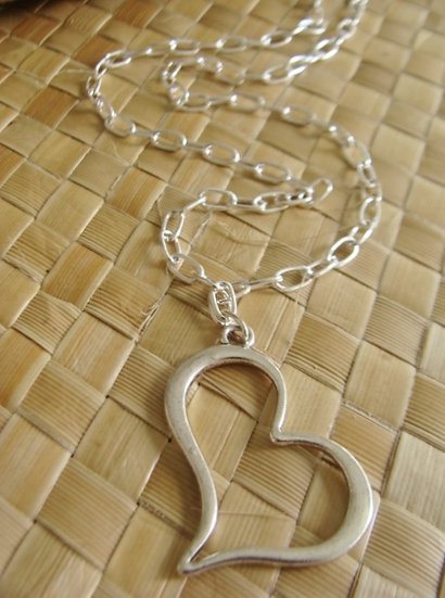 Chic & Affordable Silver Heart Necklace