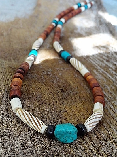 bone wood & turquoise stone men's long surfer necklace