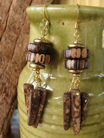 Chandelier Dangle Natural Wood & Coconut Earrings