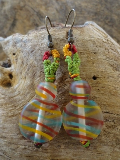 Affordable Dangle Rasta Glass Bead Earrings