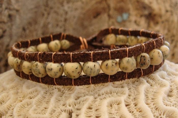 Affordable Natural Seed Leather Surfer Bracelet